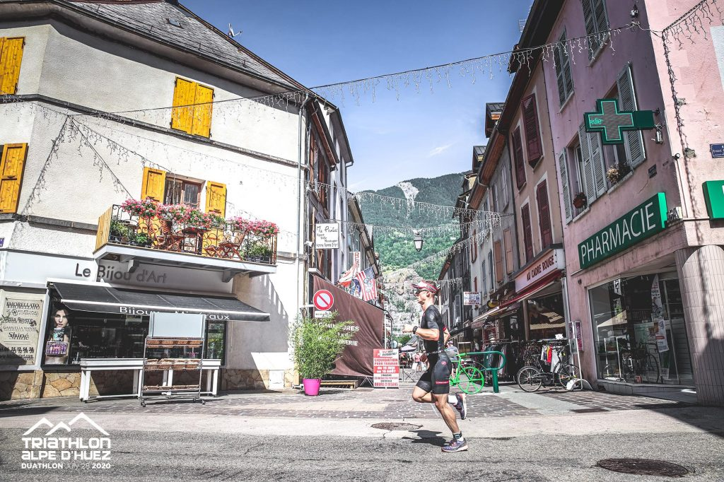 Alpe d'Huez Duathlon run in Bourg d'Oisans