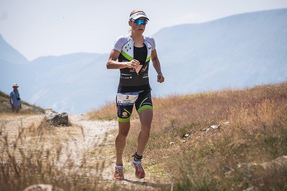 Alexandra Tondeur running Alpe d'Huez Triathlon